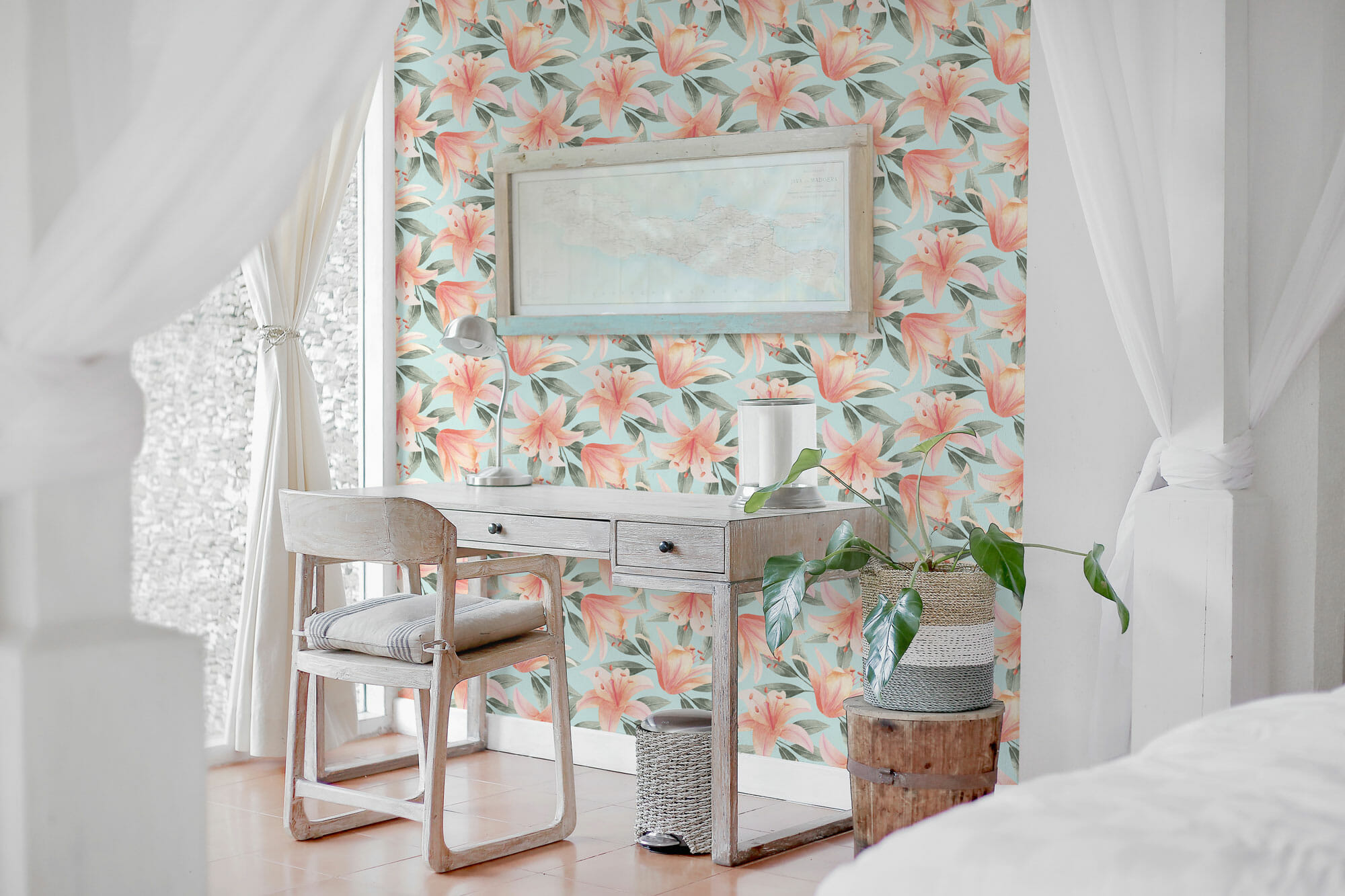 pink and blue floral peel and stick wallpaper 9