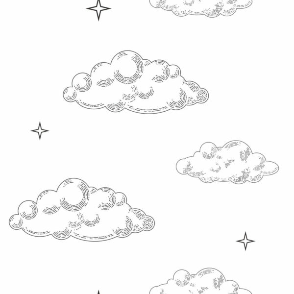 black and white cloud peel and stick wallpaper
