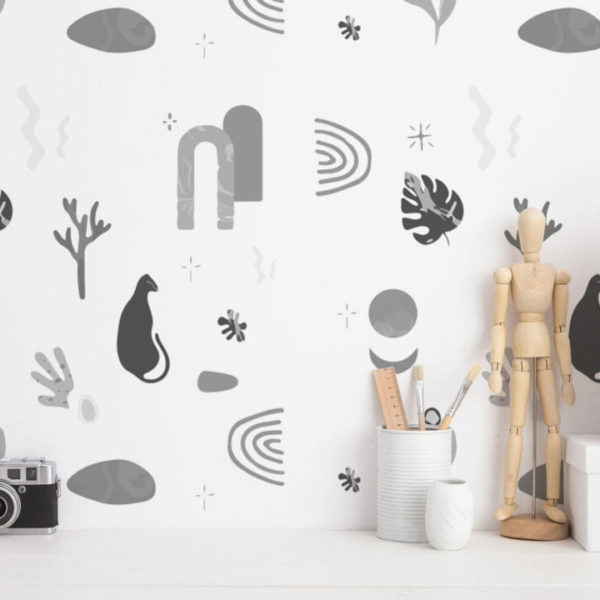 black and white abstract drawing peel and stick wallpaper
