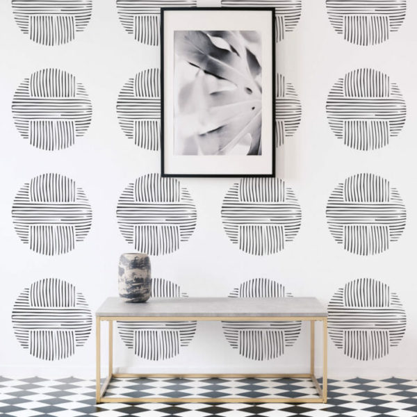 black and white circles peel and stick wallpaper