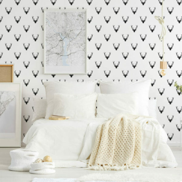 black and white deer peel and stick wallpaper