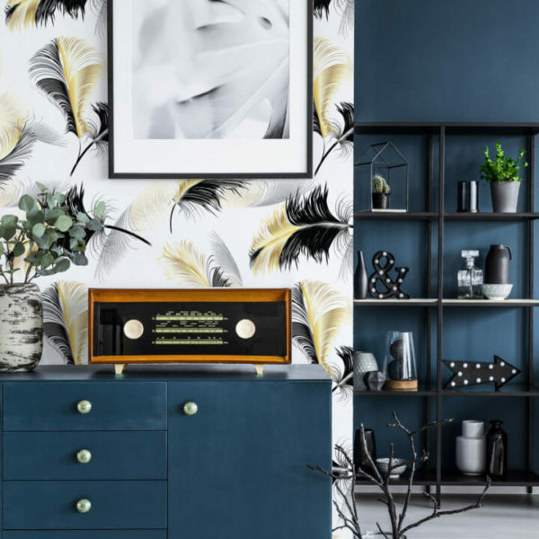 black and white feather self-adhesive wallpaper