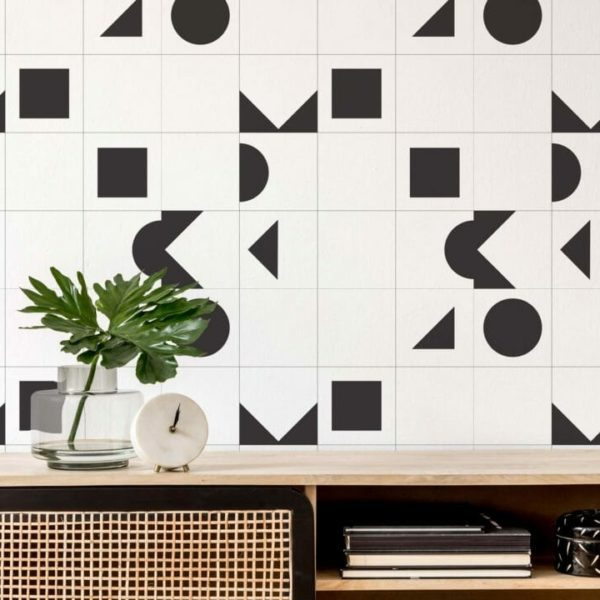 black and white geometric peel and stick wallpaper