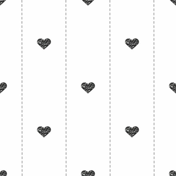 black and white heart peel and stick wallpaper