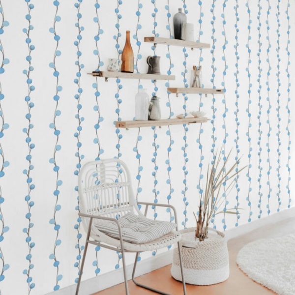 blue and white berry self-adhesive wallpaper