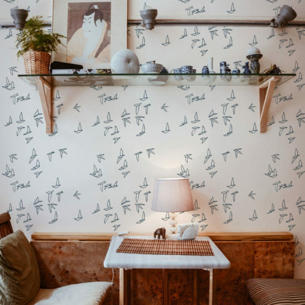 blue bird peel and stick wallpaper