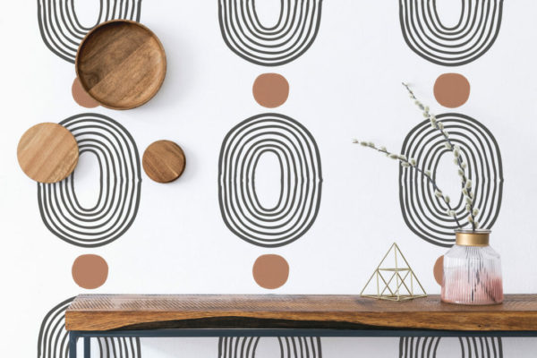 brown and white abstract shapes peel and stick wallpaper