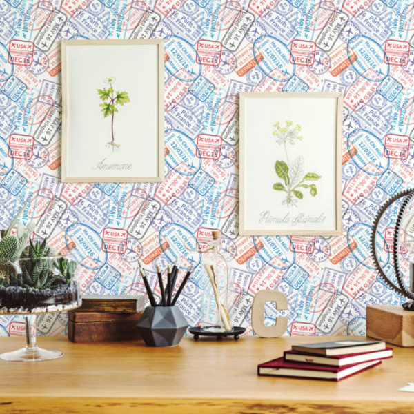 colorful stamp peel and stick wallpaper