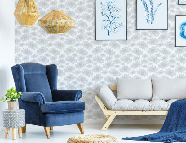 Gray And White Floral Pattern Peel And Stick Wallpaper Fancy Walls