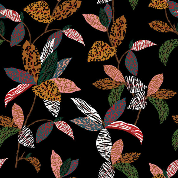 orange and black plant self-adhesive wallpaper