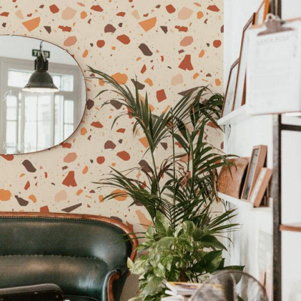 orange and yellow terrazzo self-adhesive wallpaper
