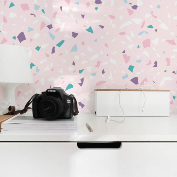 pink terrazzo peel and stick wallpaper