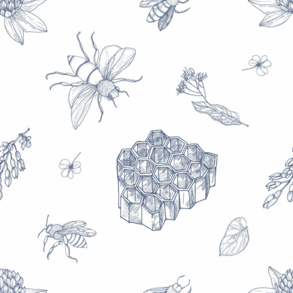 blue and white bee self-adhesive wallpaper