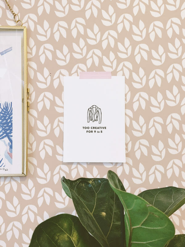 beige and white leaf peel and stick wallpaper