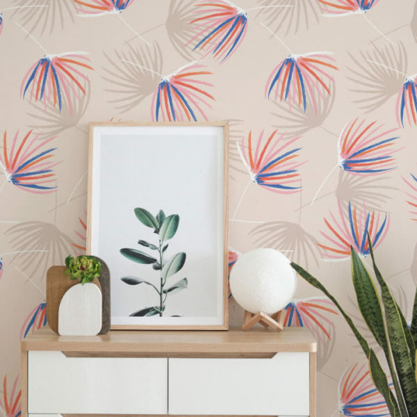 beige floral with accent peel and stick wallpaper
