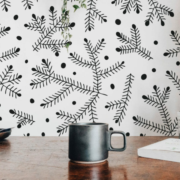 black and white branches and dots peel and stick wallpaper
