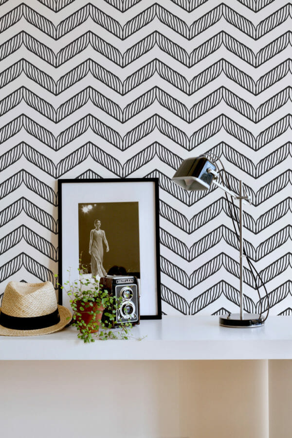 black and whitehand drawn chevron peel and stick wallpaper
