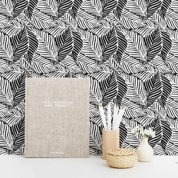 black and white leaf peel and stick wallpaper