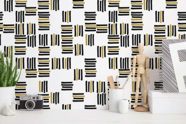 black and white stripes self-adhesive wallpaper