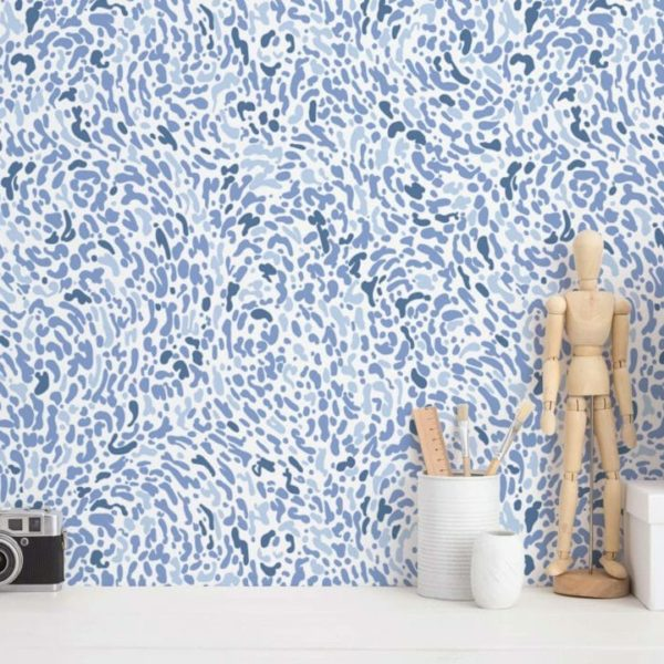blue and white abstract spot peel and stick wallpaper