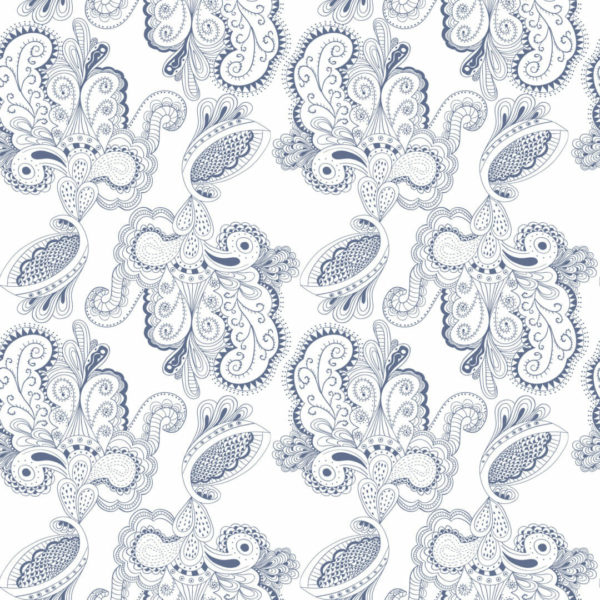 blue and white paisley self-adhesive wallpaper