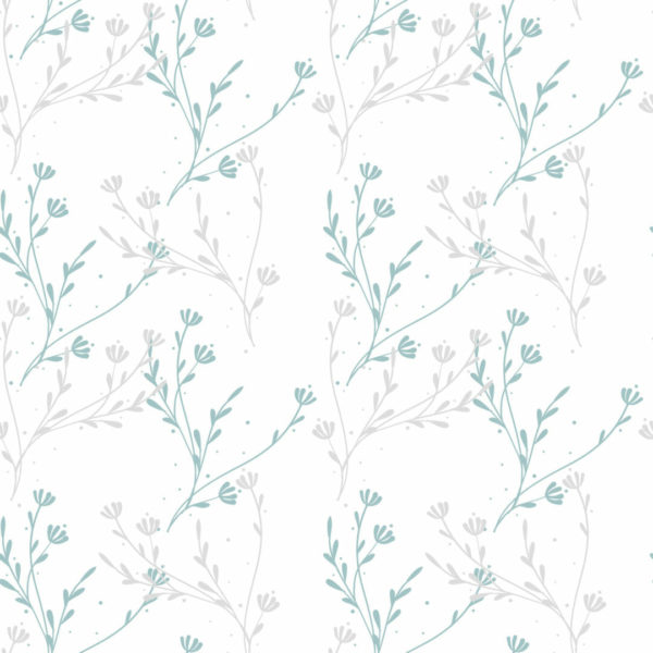 blue and white small floral peel and stick wallpaper
