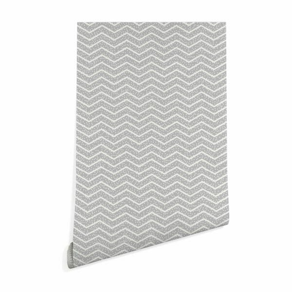 gray and white chevron with spots self-adhesive wallpaper