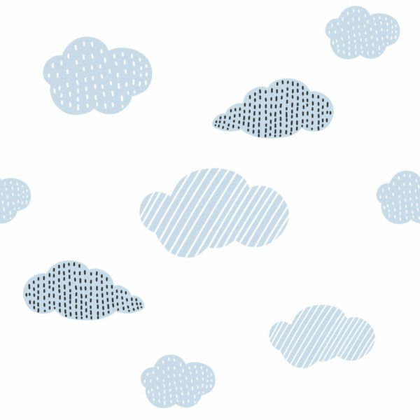gray and white cloud peel and stick wallpaper