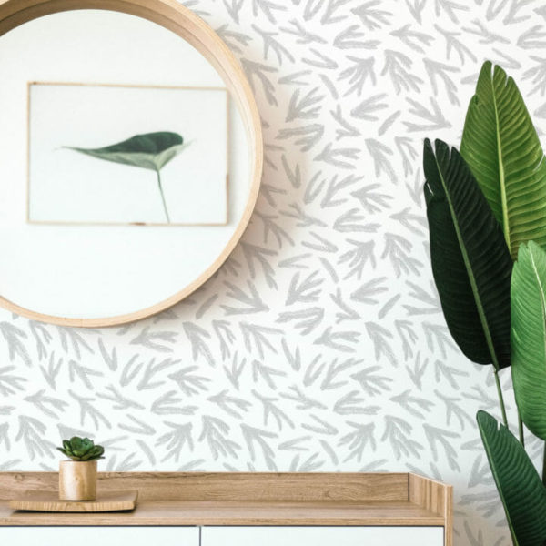 gray and white fir branches peel and stick wallpaper