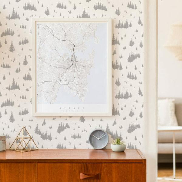 gray and white fir tree self-adhesive wallpaper