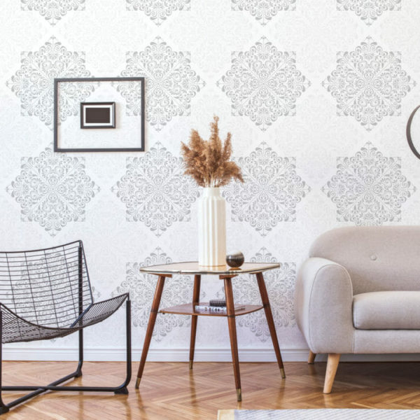 gray and white ornamental peel and stick wallpaper
