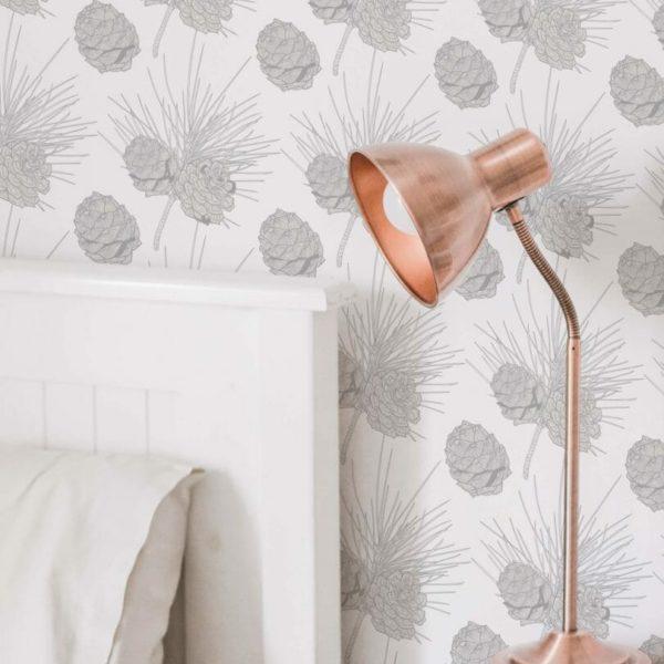 gray and white pine cone self-adhesive wallpaper