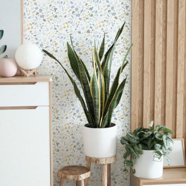 gray-and-yellow terrazzo peel and stick wallpaper