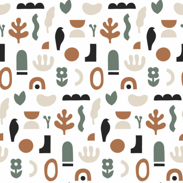 green and white abstract shapes peel and stick wallpaper
