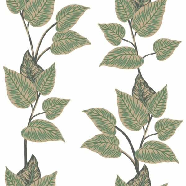 green and white leaf peel and stick wallpaper