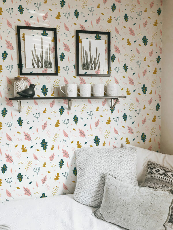 green and white leaf self-adhesive wallpaper