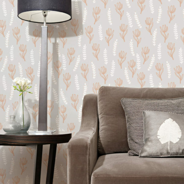 orange and gray floral peel and stick wallpaper