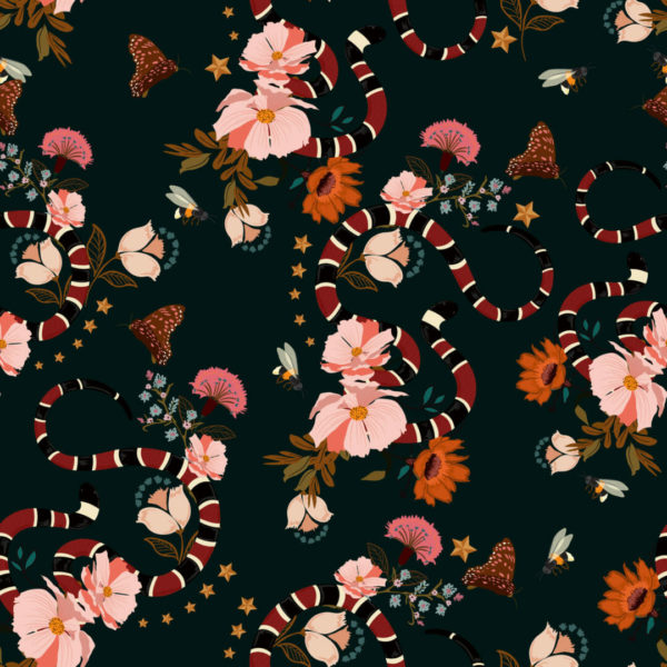 pink and black tropical floral peel and stick wallpaper