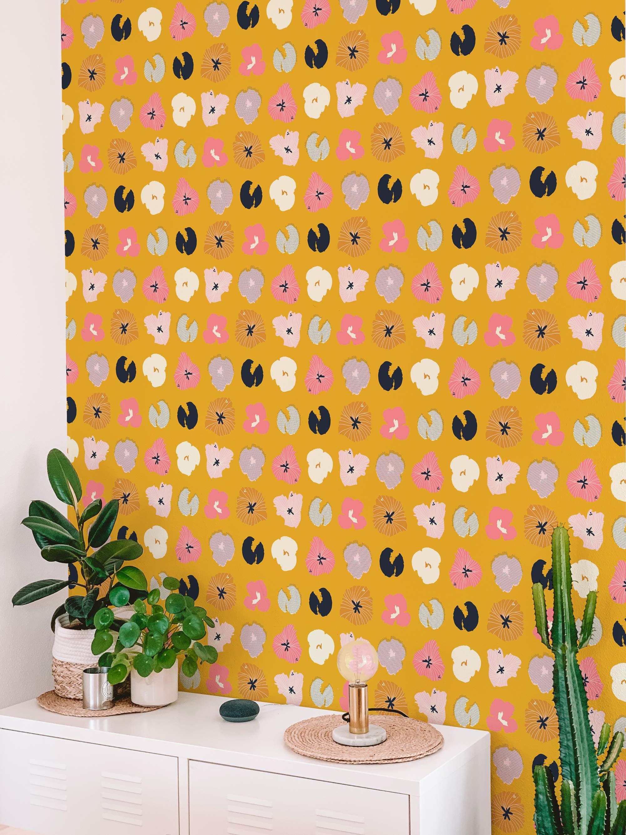 Peel-and-Stick Removable Wallpaper Paprika Floral Watercolor Floral Orange