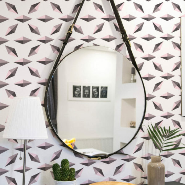 pink and white diamond peel and stick wallpaper