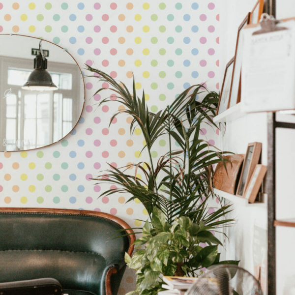 rainbow dots peel and stick wallpaper