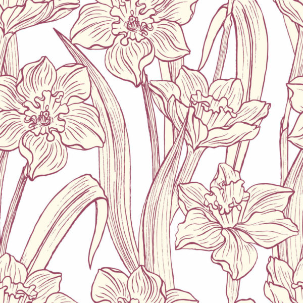 red and white narcissus peel and stick wallpaper