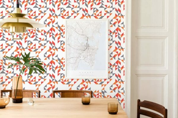red and white triangle peel and stick wallpaper