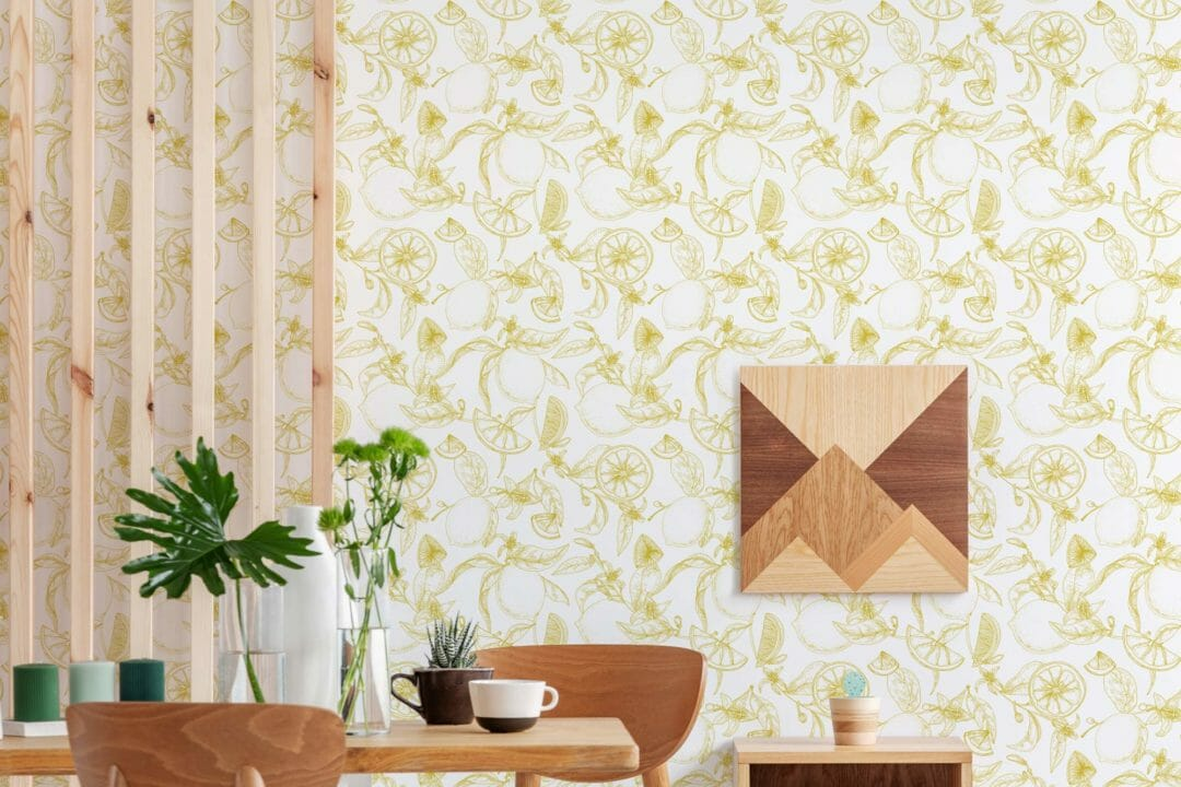 Yellow and white lemon peel and stick wallpaper   Fancy Walls