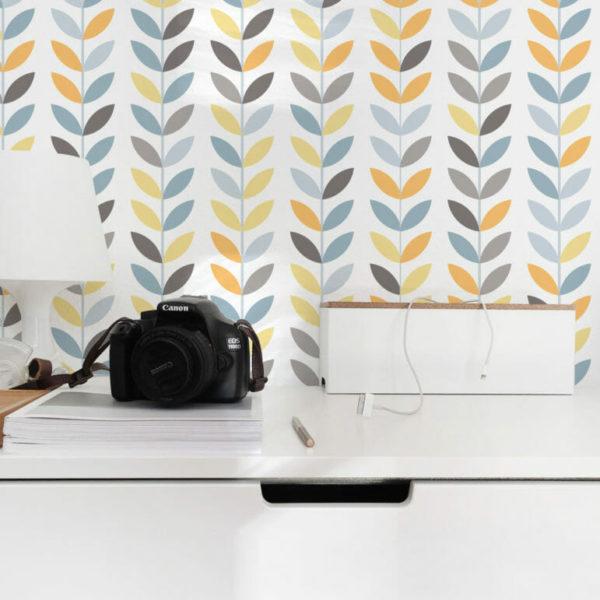 yellow and white scandi self-adhesive wallpaper
