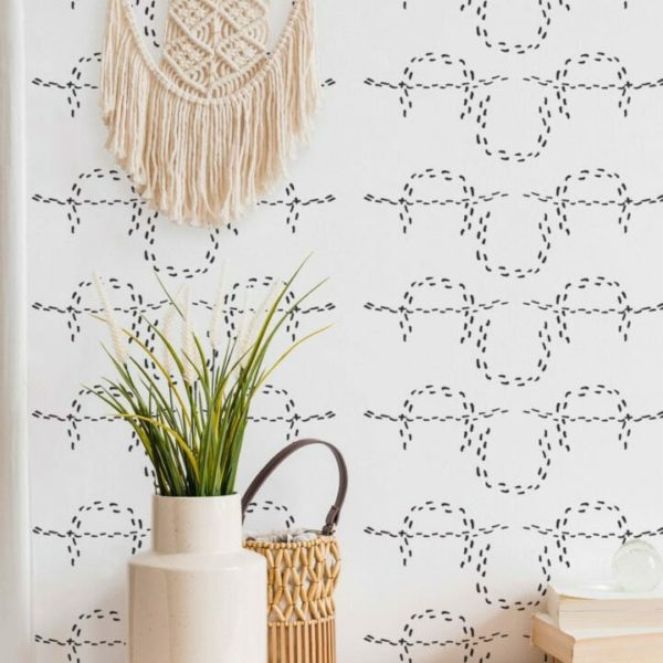 black and white horseshoe peel and stick wallpaper