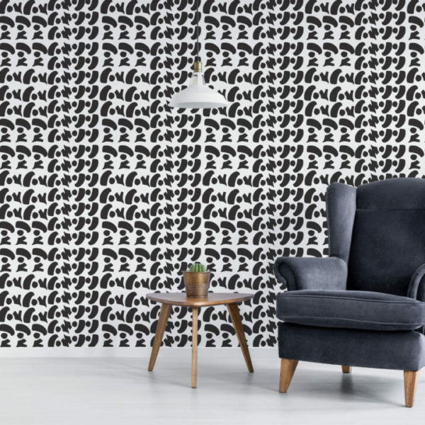 black and white bold shapes peel and stick wallpaper