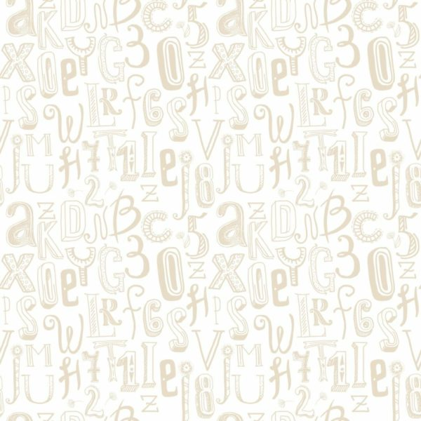 beige and white alphabet peel and stick wallpaper