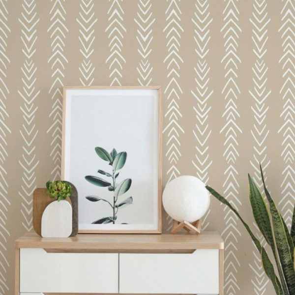 beige and white arrow peel and stick wallpaper