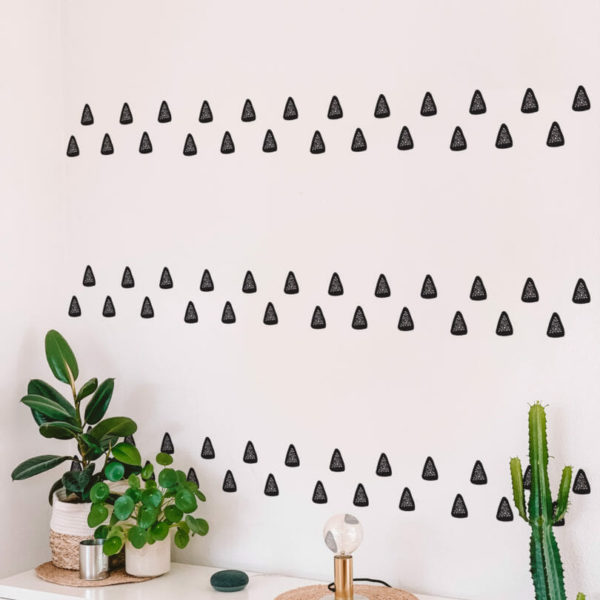 black and white boho triangle peel and stick wallpaper